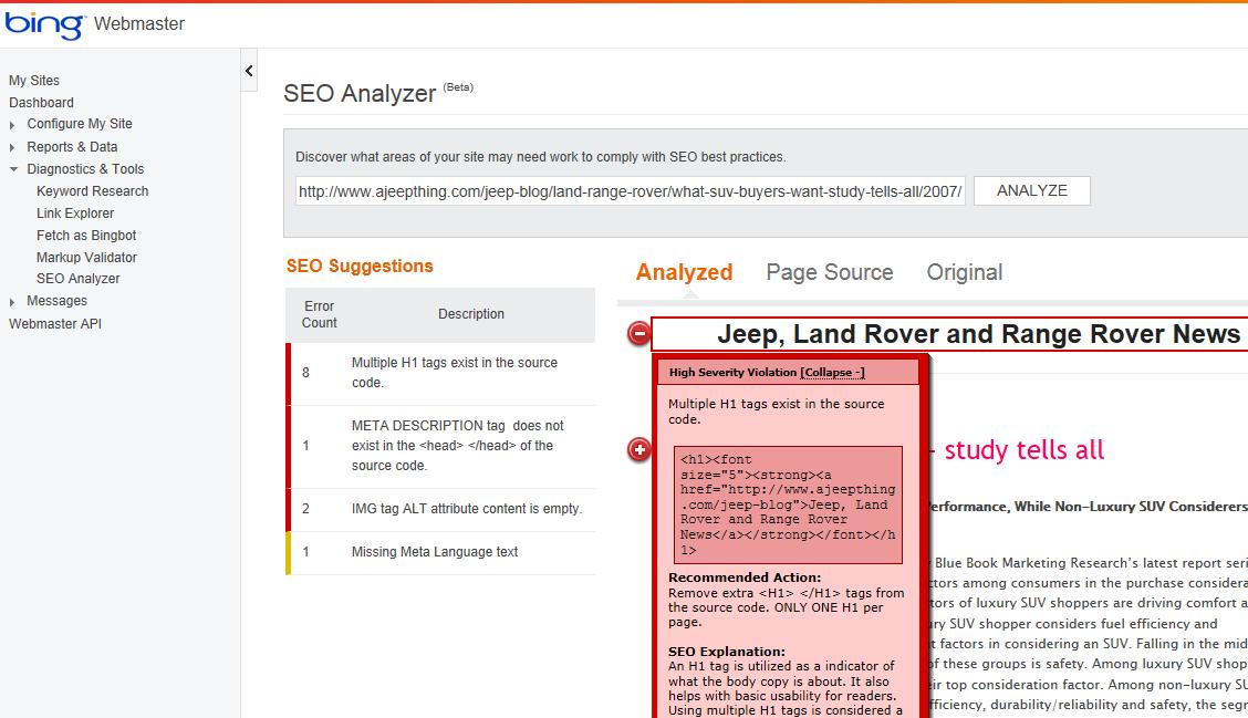 bing wmt seo analyzer error report
